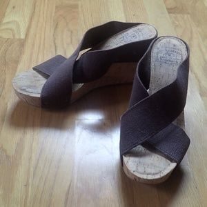 Lucky Brand Brown Cork Wedge Sandals